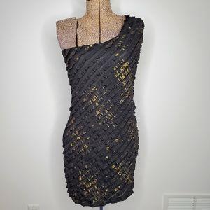 Vintage one shoulder Garoche mini dress